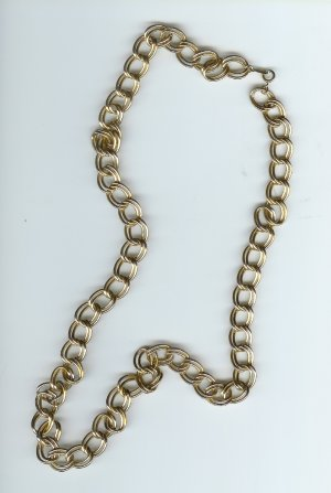 Double Hoop Link Chain  28 inches  long  GoldPlated
