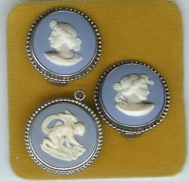 Wedgwood Jasper cameo Earings and cupid pendant