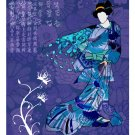 Blue Geisha with Wings