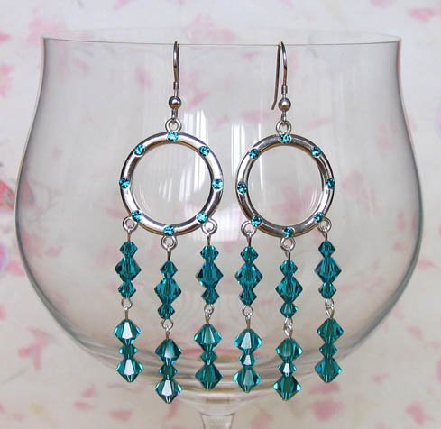 Crystal Hoops  Blue Zircon