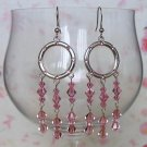 Crystal Hoops Lt Rose