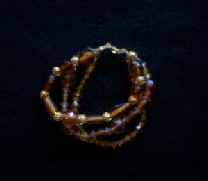 Triple String Golden Brown Bracelet