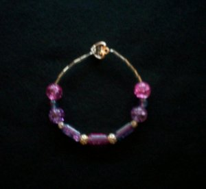 Pink and Purple Bracelet with Heart Clasp
