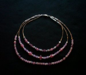 Three String Pink Necklace