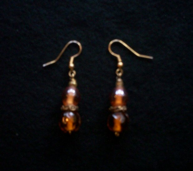 Clear Golden Brown Earrings