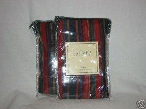 2 Ralph Lauren STUDIO REP STRIPE RED Std Shams