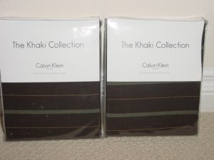 2 Calvin Klein MOSS TWILL Std Shams