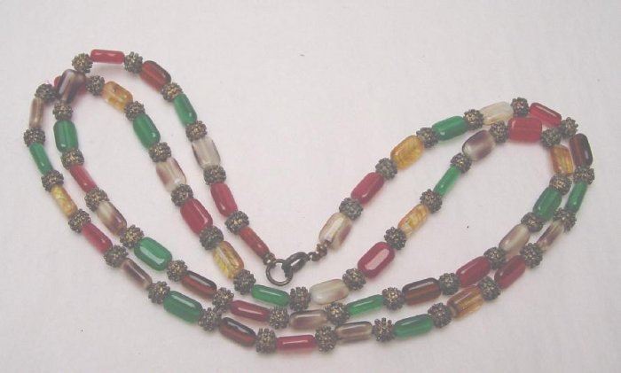 VINTAGE MULTICOLOR GLASS BEAD NECKLACE
