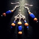 Lapis Lazuli/Red Goldstone/Tibetan silver 3pc set: earrings & pendant