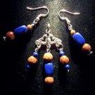 Lapis Lazuli/Red Goldstone/Tibetan silver 3pc set: earrings & pendant