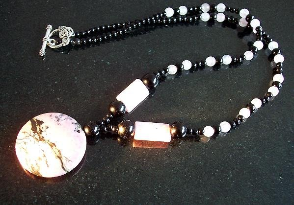"Love, Healing, Power Necklace 20""/Rhodonite /Rose quartz/Onyx"