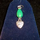 Russian MALACHITE/Tibetan silver 3pc set:earrings & pendant