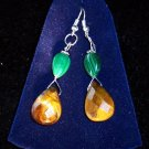 Tiger's Eye/Russian Malachite/silver plated set,earrings & pendant