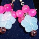 Blue Chalcedony /Pink Sapphire /Amethyst.Silver plated Earrings.