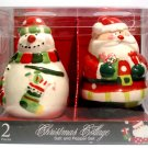 Brand New Ceramic Santa Claus & Snowman Salt and Pepper Shaker Set