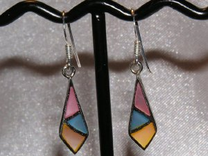 STERLING SILVER and MULTICOLOR MOTHER OF PEARL EARRINGS
