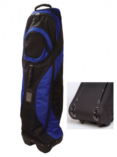 Ultimate GOLF Bag Travel Cover Wheels Blue Black - New!   **FREE SHIPPING**