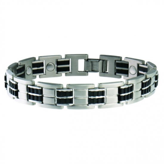 Sabona 353 Men's Executive Stainless Rubber Magnetic Bracelet - SIZE MEDIUM