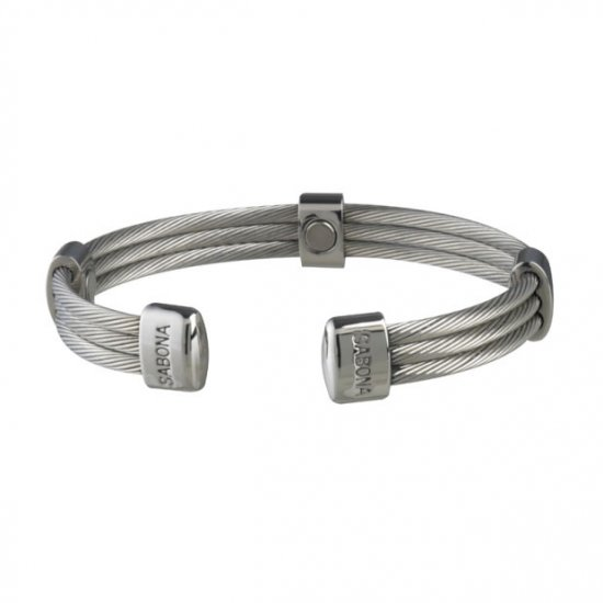 Sabona 366 Trio Cable Stainless Magnetic Bracelet - SIZE SMALL