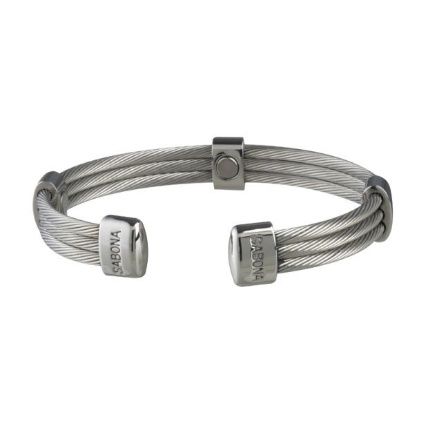 Sabona 366 Trio Cable Stainless Magnetic Bracelet - SIZE MEDIUM