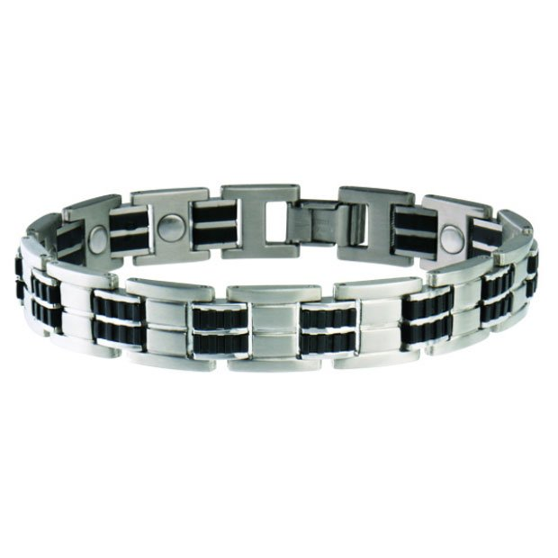 Sabona 353 Men's Executive Stainless Rubber Magnetic Bracelet - SIZE XTRA LARGE