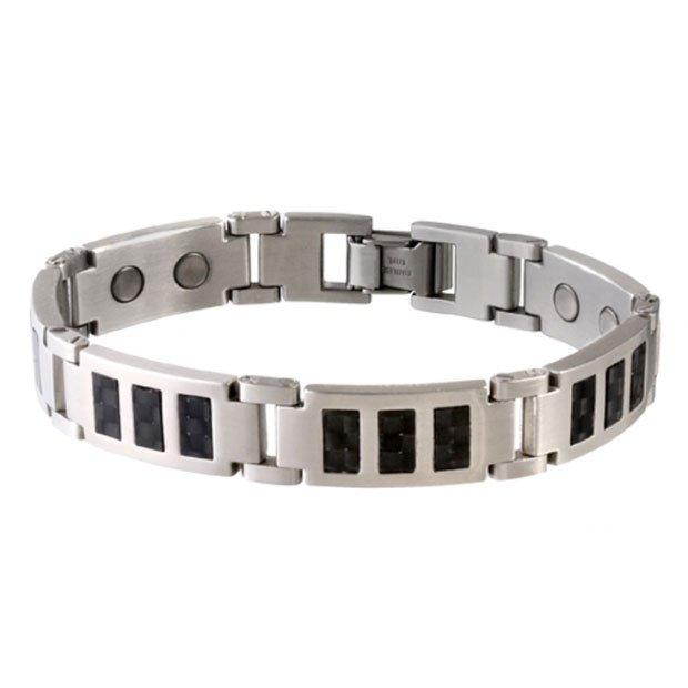 Sabona 350 Black Carbon Fiber Stainless Magnetic Bracelet - SIZE LARGE