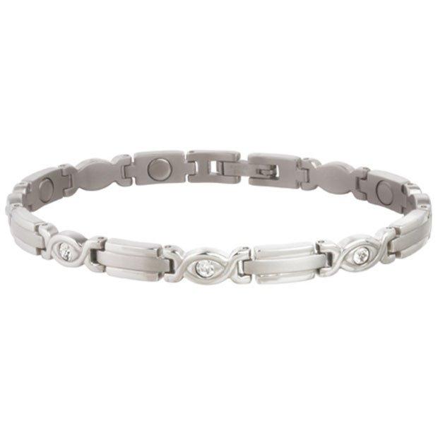 Sabona 303 Lady Executive Silver Gem Magnetic Bracelet  -  SIZE MEDIUM