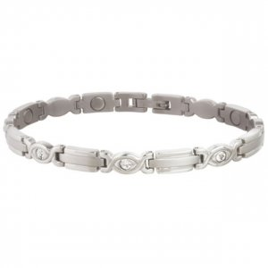Sabona 303 Lady Executive Silver Gem Magnetic Bracelet  -  SIZE LARGE