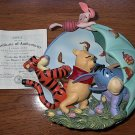 Disney Winnie The Pooh Figurines 3D Plate Limited Edition 'Umbrellas Work Best On Blustery Days'