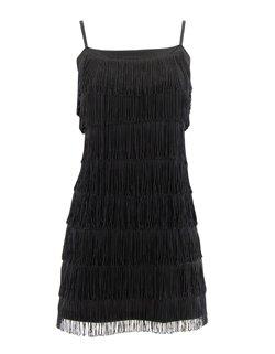 Black tassle dress