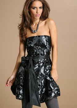 yumi boutique velvet print prom dress