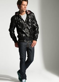 PATENT hoded bomber jacket