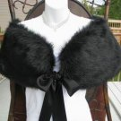 Black Faux Mink Fur Shawl With Bows