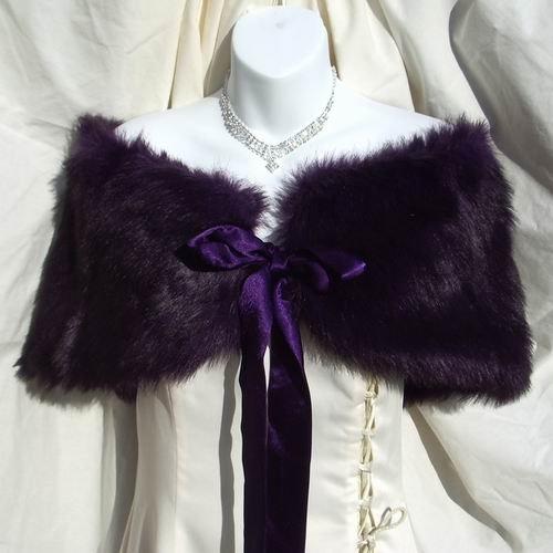 Purple Faux Fox Fur Shawl