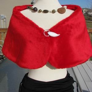 Red Mega Faux Mink Fur Wrap With Clasp UK
