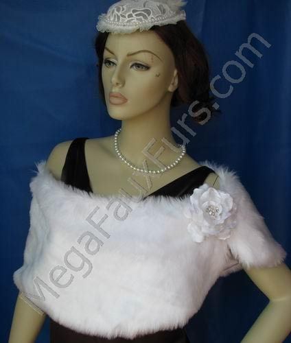 White Faux Mink Fur Wrap
