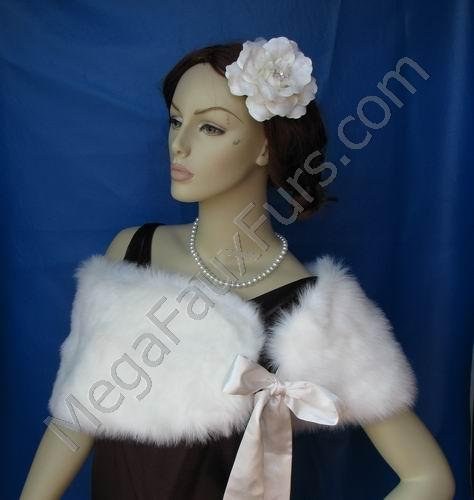 Ivory Faux Fox Fur Bridal Shawl UK