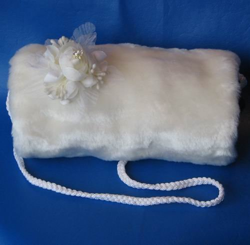 Ivory Faux Mink Hand Muff