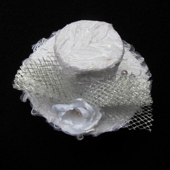 White lace mini hat for cocktail party