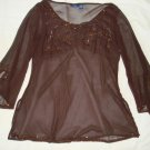 $12.99 Evening,Plus2X,Sequins Pink or Dark Brown,Top,Blouse