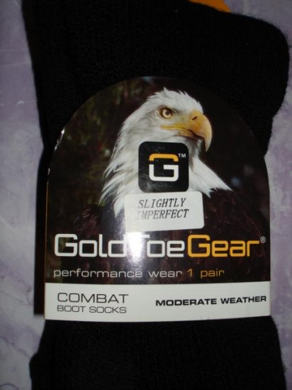 1 New pair Unisex, GOLD TOE-Combat Boot Socks Black Large/Medium