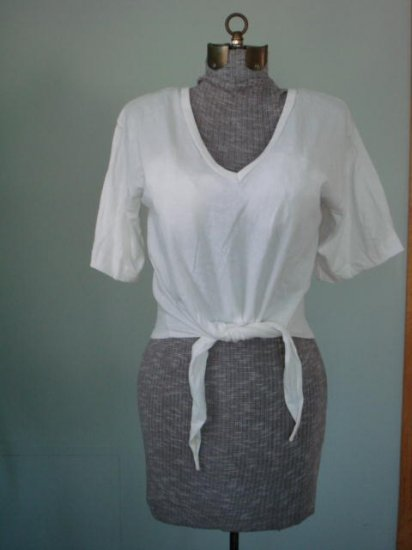 NEW-White-Knot Short SleeveTank Top,T-Shirt, Blouse M,L