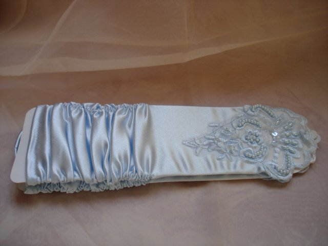 Fingerless&Beads Wedding Bridal gloves-Blue- Free shipment