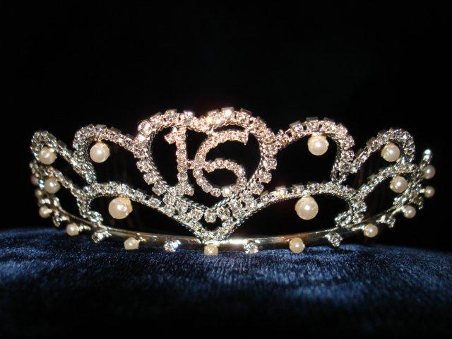 $17.99_New with tag-Rhinestone Crystal & Pearl Sweet 16 Tiara, Crown, Headband