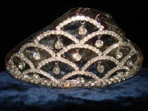 $17.99 Bridal Wedding Veil Prom Pageant Clear Rhinestone Crystal Tiara, Crown Headband #H17947