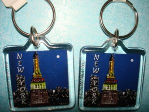 "New York Souvenirs - Set of 2 Brand new key chain 1.5""X1.5"""