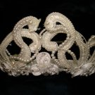 $20 Bridal Wedding Veil Prom Pageant Pearl & cristals Loop- Round Tiara, Crown Headband