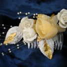 Bridal Wedding Veil Prom Pageant Pearl,gold&white Satin flowers Head Piece tiara,Crown Headband