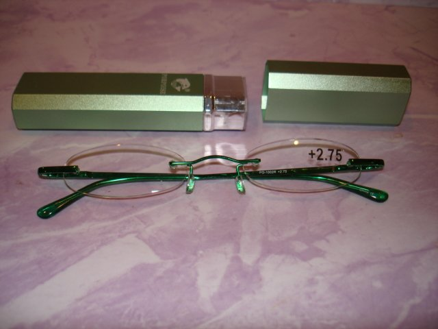 $9.99 free ship-New- Slim Reading green color frame Glasses +2.75  in Sturdy  metalic green Case