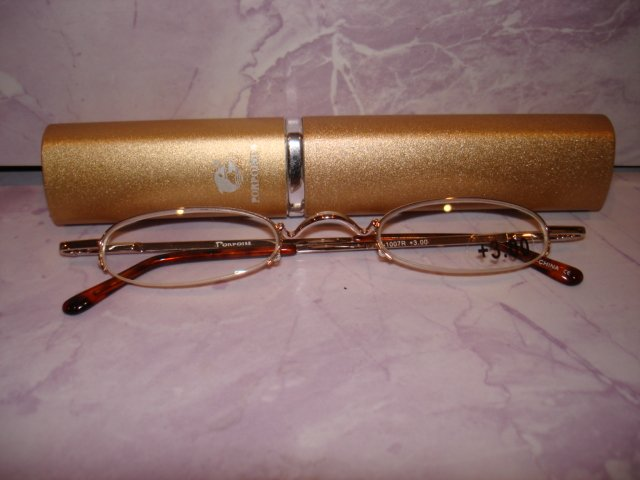 $9.99 free ship-New- Slim Reading Glasses silver metal frame +3.00  in Sturdy  metalic gold Case